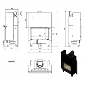 Ενεργειακό τζάκι Kratki MBO/G ίσιο 15kw συρόμενη πόρτα