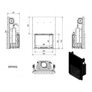 Ενεργειακό μαντεμένιο τζάκι Kratki Eryk/Guilottine 12kw συρόμενη πόρτα