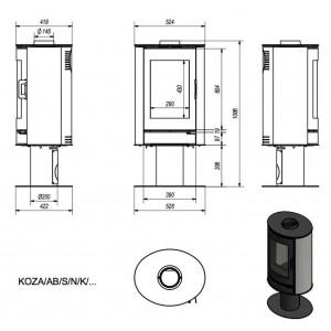 Ενεργειακή σόμπα ξύλου Kratki Koza AB/S/N/K BIALY 8KW